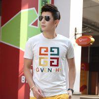 2015夏季新款男士圆领短袖男t恤修身植绒字母印花韩版打底衫伙拼