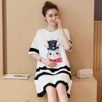 夏新款韩版圆领宽松大码孕妇装黑白条纹兔子图案孕妇裙连衣裙