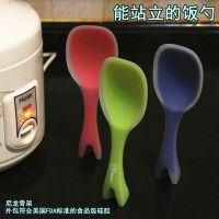 创意无毒硅胶厨具耐高温防烫一体式站立饭勺不伤锅烹饪勺铲饭勺