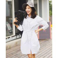 2015春季新款女装韩版系带中长款百搭宽松长袖衬衣  U105