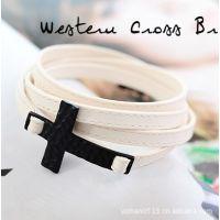 新款韩版饰品200元混批代理加盟B0889个性十字架皮革手环手镯手链