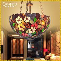 仿古田园欧式吊灯 创意蒂凡尼餐厅吊灯复古 蒂凡尼玻璃装饰吊灯具