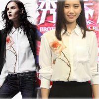 刘诗诗明星同款韩版长袖修身衫衬衣大码打底衫 印花雪纺衬衫女装