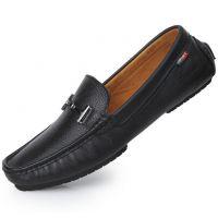 新款透气休闲男鞋 英伦头层牛皮时尚驾车鞋手工套脚豆豆鞋 皮鞋