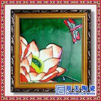 辰天陶瓷 手绘瓷板画 鲜花装饰瓷板画
