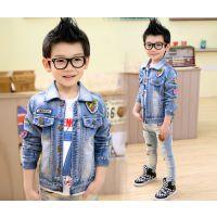 2015春秋新款男童外套 韩版时尚纯色拼接牛仔外套 中大童厂家直销