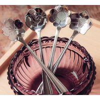 万豪餐具 不锈钢樱花勺 咖啡勺 搅拌勺 花型不锈钢勺