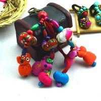 韩国进口饰品 可爱五彩毛球 小花朵手机挂件 钥匙扣 包包挂饰