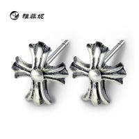S925纯银耳钉批发 个性十字架泰银耳钉 欧美耳钉 速卖通货源