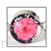 七夕情人节送女朋友礼物--玫瑰真花吊坠透明小鲜花琥珀首饰