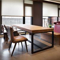 美式乡村铁艺原实木餐桌饭桌会议办公电脑长条休闲咖啡餐厅大桌子
