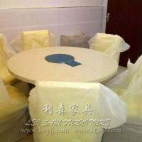 汉釜宫韩式连锁店桌椅 自助火锅烧烤一体桌 大理石不锈钢烤肉桌