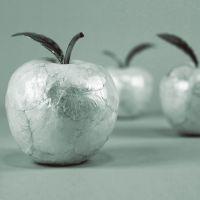 赛尔加 创意树脂贝壳设计苹果摆件  银色梨子水果 家居软装饰品