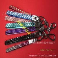 厂家供应镶钻钥匙扣  真皮钥匙挂件  树脂钻钥匙链