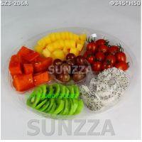 SZ3-206A六格鲜果切盘盒/3斤装鲜果切盒/透明盒100套塑料水果拼盘