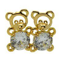 义乌厂家直销韩版饰品锆石可爱熊猫耳钉可订制来料加工量大从优