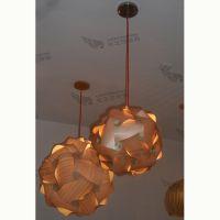 灯具订做高端田园木皮餐厅圆球吊灯咖啡厅创意木艺波浪球吊灯500