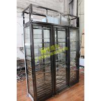 欧式酒柜拉丝无指纹不锈钢 会所定制黑钛金红酒柜 伟煌业高端展示柜加工