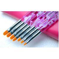 美甲光疗笔 排笔 彩绘笔 压克力杆7支装 扁平头 光疗笔