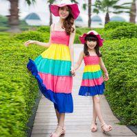 海滩度假彩虹条亲子装母女连衣裙韩版大码休闲沙滩裙女童一件代发