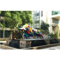 中山雕塑厂/广东玻璃钢动物雕塑/彩色牛玻璃钢雕塑