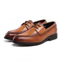 新品男式单鞋系带圆头欧美版真皮皮鞋男舒适正装工作穿大气纯皮