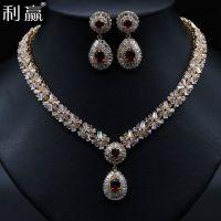 新娘晚宴套装 纯手工铜镶AAA锆石项链 简约大气范 速卖通热销套链