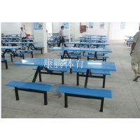 肯德基连体快餐桌椅组合 饭店 食堂 小吃店8人位短条凳餐桌批发定做康腾体育