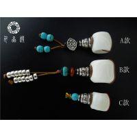 DIY手工饰品配件藏式天然白砗磲佛头三通银佛塔牛皮垫片绿松石