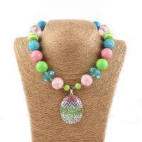 欧美儿童串珠项链 复活节彩蛋吊坠 chunky necklace 速卖通货源