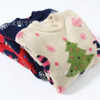 2014冬装男女童宝宝毛衣圣诞雪人雪花双面针织儿童毛衣打底衫三色