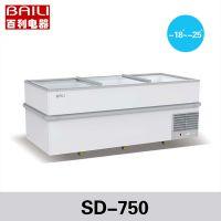 百利SD-750低温岛柜 火锅丸子冰柜 玻璃门卧式冷冻柜 展示冰柜