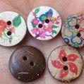 印花椰壳钮,彩印木头纽扣