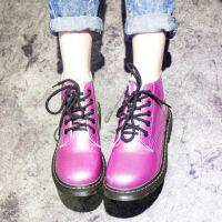 热销 2014秋冬韩版新款女靴 亮皮系带粗跟短靴女式单靴 批发代理
