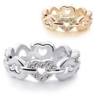 水晶饰品饰品批发网直销时尚女人满钻桃心戒指-心劫4585