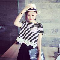 小银子2015夏装新款韩国花朵下摆装饰条纹棉质宽松短袖T恤女T4454