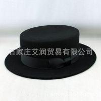 出口纯羊毛呢毡帽 大檐帽 平顶帽 小礼帽子 工厂供应来样来图定做