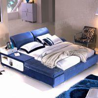 厂家直销布艺床 简约现代双人床1.8米 贵妃储物功能床 可拆洗布床