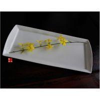 陶瓷外贸餐具新骨瓷白色鱼盘 寿司盘 平盘 长方盘0.51kg