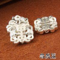 DIY手链串珠银配件 素银佛珠手串背云 925纯银双面镂空竖孔挂件