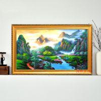 2015家居卧室客厅酒店装饰画纯手绘油画批发青松瀑布风景有框油画