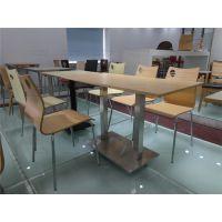 广州双邻家具厂家供应快餐店食堂餐厅连体弯木快餐桌椅 优质员工食堂餐弯木桌椅 可订做