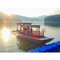 6米高低蓬木船 木质高低蓬船 湖面观景摇橹船 水乡赏景观光木船