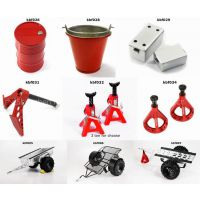 rc4wd parts Fuel Tank / Water Bucket / Tool Box / Winch Anchor /Jack Stands / Metal Trailer