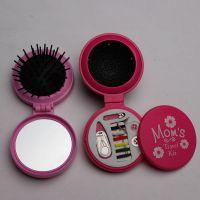 供应环保塑料针线盒镜梳,针线包镜梳,旅行套装镜梳