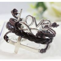 欧美十字架无穷大LOVE皮质手链 Ebay淘宝速卖通货源 ALQB20140259
