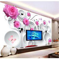 定制3d大型壁画电视背景墙纸玫瑰花朵无纺布壁纸客厅卧室床头自粘