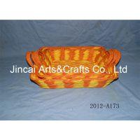 博白编织工艺品 彩色纸绳编织篮子 套三家居收纳储物篮子批发