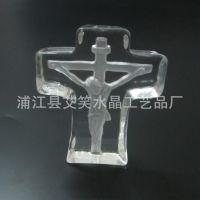 厂家直销 酸洗水晶冰山十字架款 可开模定制 宗教礼品 水晶礼品