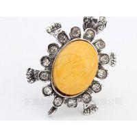 专业生产镀金戒指 金属压铸戒指 民族风镶宝石指环
